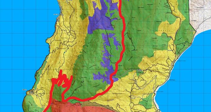 Карта од паркот на која ја исцртана рутата од офроуд турата за која од здржението СОС Охрид посочуваат дека поминува низ зони за активно управување (зелена боја), па и низ строго заштитени (црвена боја)