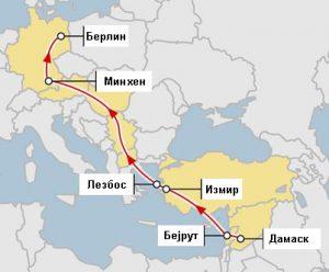 Патувањето до Берлин траеше 25 дена преку Либан, Турција, Грција, Македонија, Србија, Унгарија и Австрија