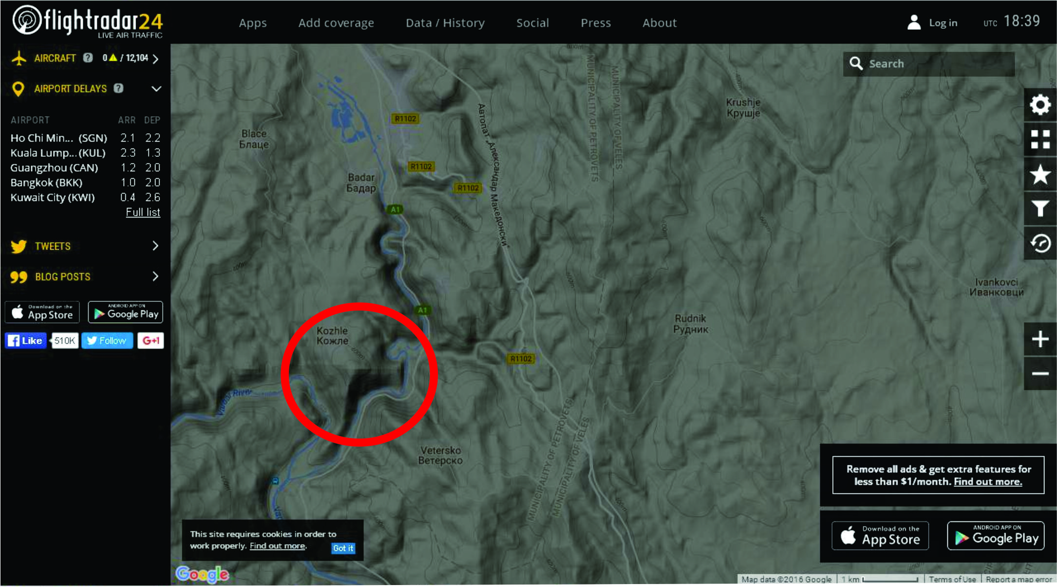 Местото каде што се верува дека се урнал италијанскиот авион со германски регистарски ознаки