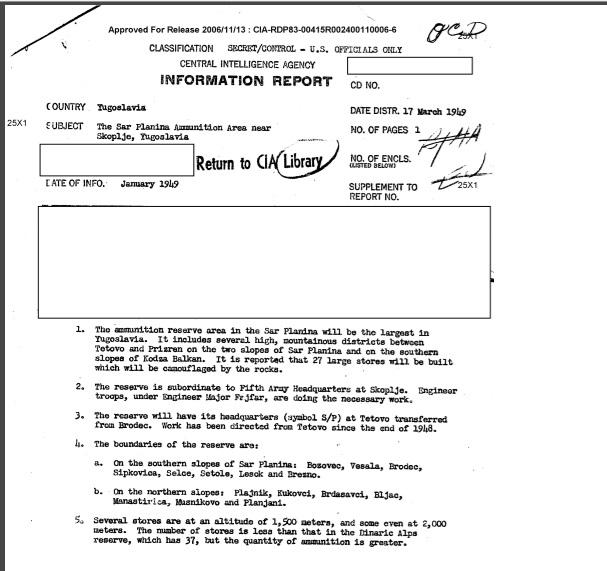 Тетово се споменува во точно 89 документи, од кои дури 65 се со историско значење и од нив може да се извлечат релевантни податоци, вели истражувачот Дарко Гавроски; - Документ на ЦИА за воен магацин со оружје на Шар Планина од јануари, 1949