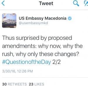 Твитерот на Амбасадата на САД што ги премисли партнерите на Груевски