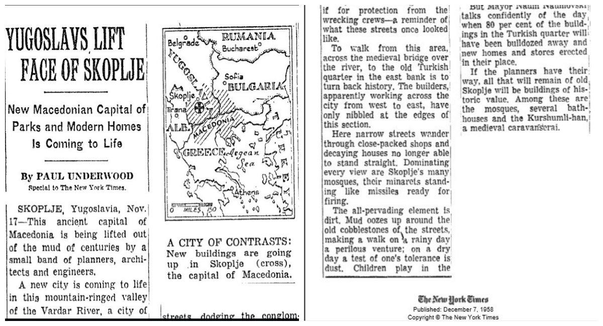 """СЕ РАЃА НОВИОТ МАКЕДОНСКИ ГЛАВЕН ГРАД СО ПАРКОВИ И МОДЕРНИ КУЌИ, ПИШУВАЛ ВО 1958 """"ЊУЈОРК ТАЈМС"""" ЗА СКОПЈЕ"""